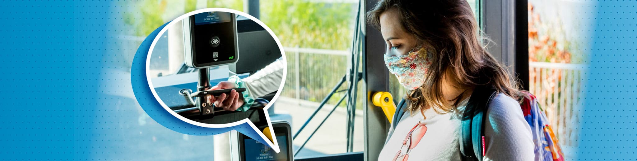 Banner image with an image of a young woman using the mobile app on a Capital Metro bus scanner