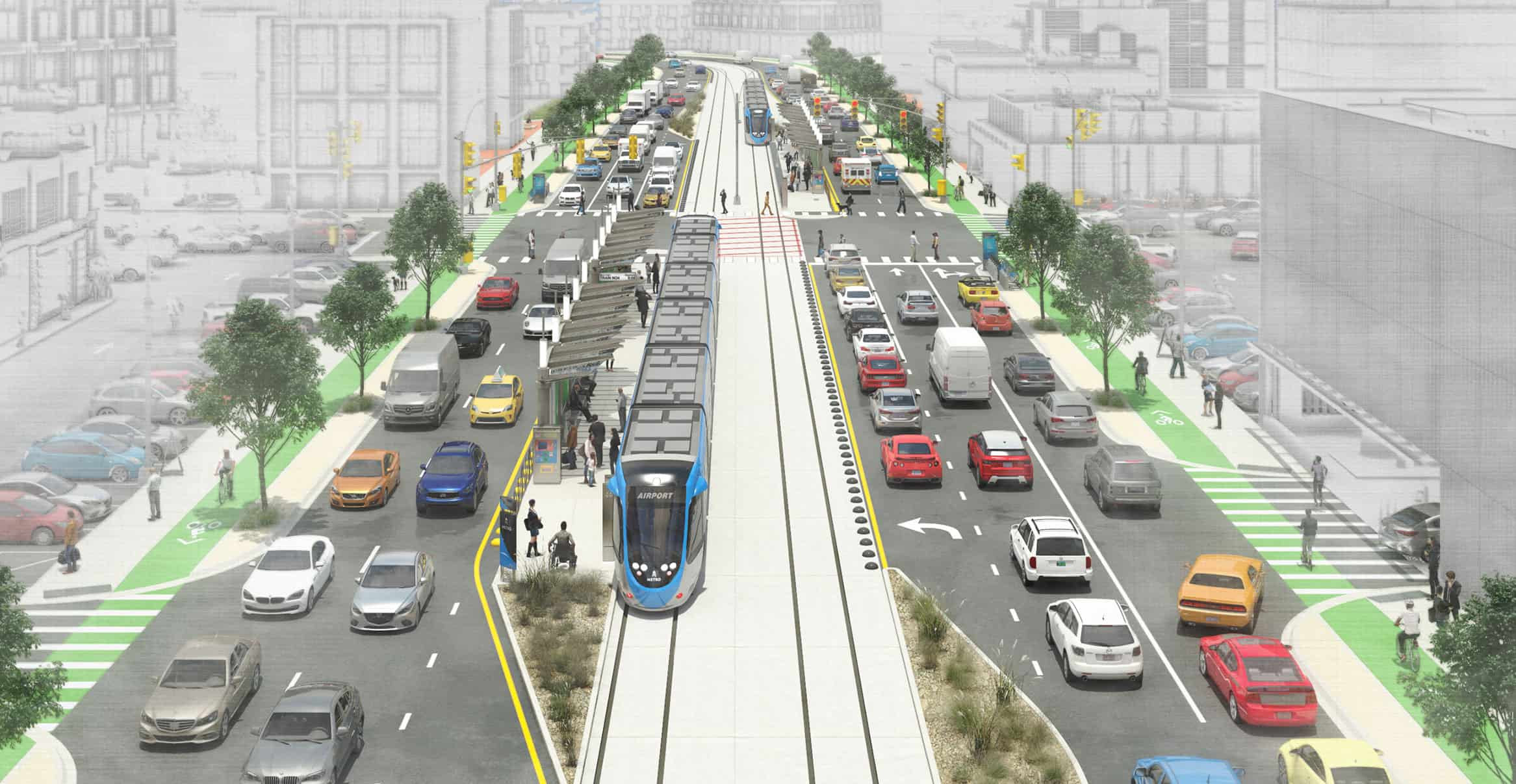 Artist rendering of light rail