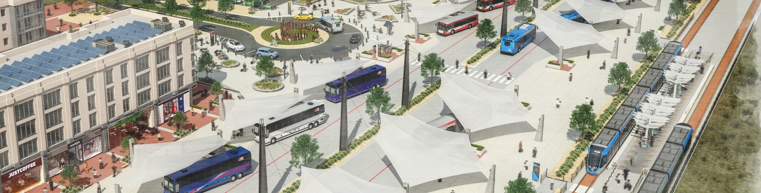 Artist's rendering of multiple public transit modes for Project Connect  - including Park and rides