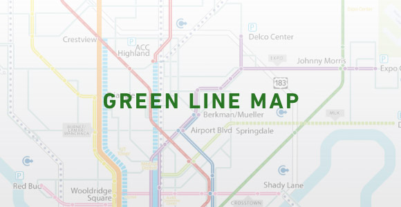 A Project Connect Map Envisioning a Green Commuter Rail Line
